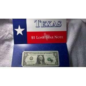 US Mint $1 Dollar Bill Series 2001 Texas Star U.S. Paper