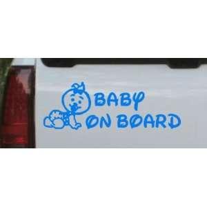 Baby On Board (Girl) Car Window Wall Laptop Decal Sticker    Blue 56in