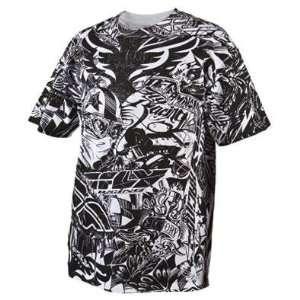 Fly Racing Winners Circle T Shirt, Black/White, Size Sm
