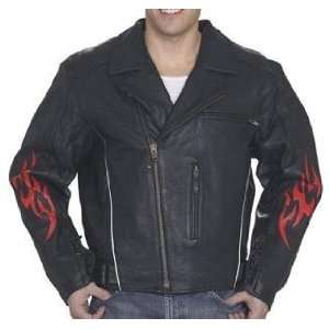 Mens Leather Motorcycle Jacket with Flames & Zip Out