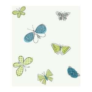 Wallcoverings PW4014 Girl Power 2 Butterflies Wallpaper, White/Multi