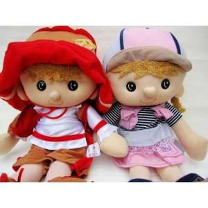 lovely red girl pink boy yuppies lovers sweethearts plush