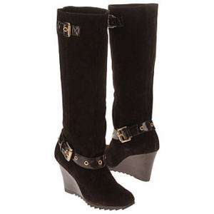 New Michael Kors Norma Wedge Knee High Boots Shoes Suede Coffee Brown