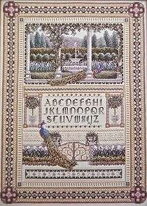 Counted CROSS STITCH Ptn~ENGLISH GARDEN SAMPLER~Wentzler~ABC+Peacock