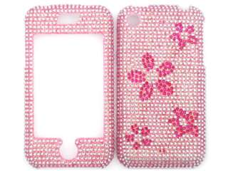 PINK FLOWERS DIAMOND BLING CRYSTAL FACEPLATE CASE COVER APPLE iPHONE 1