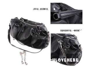 New women Fashion Black Shoulder Bag Handbag PU leather Korean Hobo