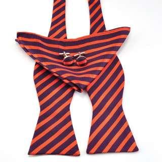 purple Mens Self Bow Tie 100% Silk Bowtie Hanky Cufflinks #059