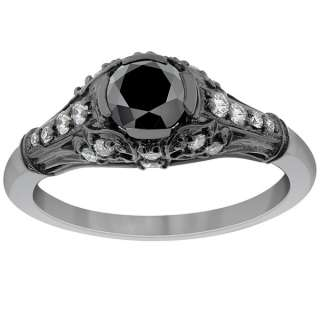 Diamond Engagement Ring Vintage Style 14K Black Gold DD BDR 073