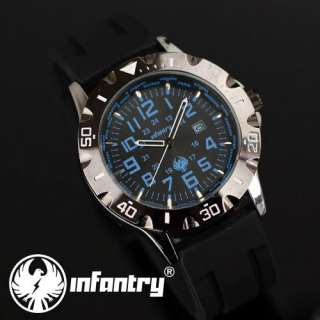 INFANTRY Date Display Military Black Rubber Sport Mens Wrist Watch