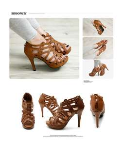NEW Womens Shoes Platforms Gladiator Ankle Straps High Heels Pumps