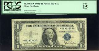 1935 D PCGS FINE 15 FR. 1613N* 1 DOLLAR NARROW STAR NOTE SILVER CERT