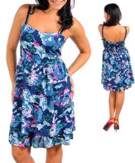 WOMANS PLUS SIZE FLIRTY PINK AND BLUE FLORAL SUN DRESS 1XL 14/16 NEW