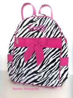 Toddler Backpack or Diaper Bag Zebra & Hot Pink Monogrammed FREE