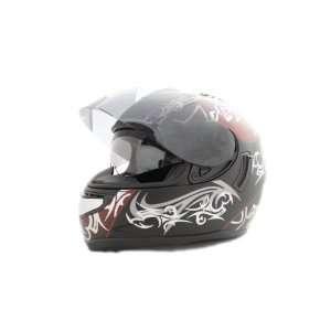 Faze Tribal Red Black Silver Dual Visor Air Pump Motorcycle Helmet