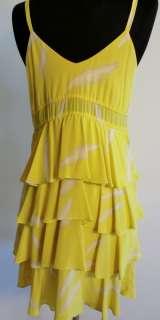 silk Karen Zambos yellow feathers dress great fit sz S