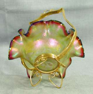 LOETZ IRIDESCENT GLASS CANDY BRIDAL BASKET BOWL PAINTED FLOWERS