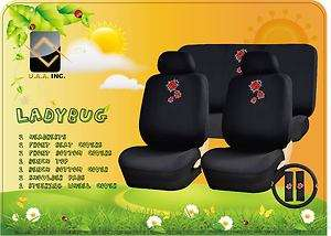 11P RED LADYBUG BEETLE CAR SEAT COVERS STEERING WHEEL