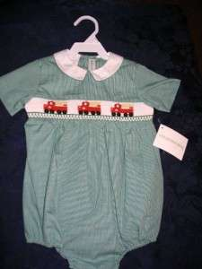 Vive La Fete Boys Smocked Bubble 12M FIRE TRUCKS ENGINES Baby infant