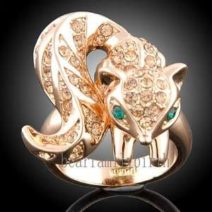 squirrel 18k Rose gold GP Swarovski crystal ring 1322