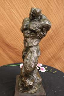 SIGNED NICK MODERN BRONZE SCULPTURE OF A BODY BUILDER FIGURE STATUE