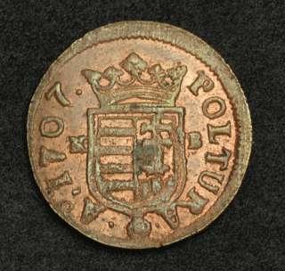 1707, Hungary, Francis II Rákóczi. Copper Poltura Coin. Lustre AU+