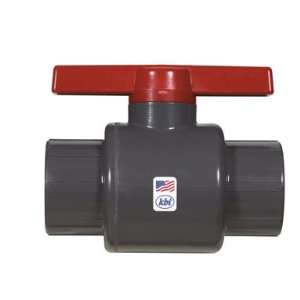 1250 T 1 1/4 Inch Threaded PVC Schedule 80 Commercial Ball Valve, Gray
