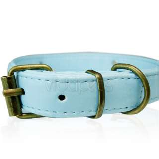18 22 blue Leather Vintage Paw Dog Collar large