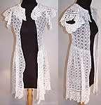 Antique Vintage White Crochet Lace Girls Tunic Top Dress Coat Jacket