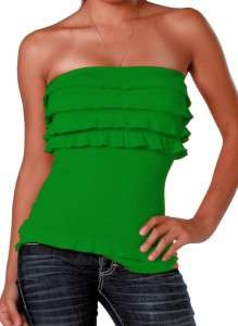 SEXY GREEN ST PATRICKS GLAM RUFFLE SEAMLESS STRAPLESS TUBE TOP NEW O/S