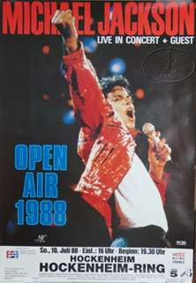 concert poster for the MICHAEL JACKSON 1988 BAD European Tour