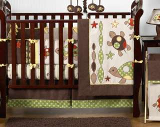 Brown And Blue Turtle Crib Bedding