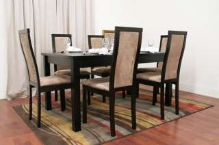 Dark Brown 7 Piece Modern Dining Set Table 6 Chairs NEW