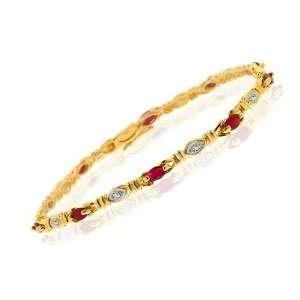 9ct Yellow Gold Ruby & Diamond Bracelet Jewelry