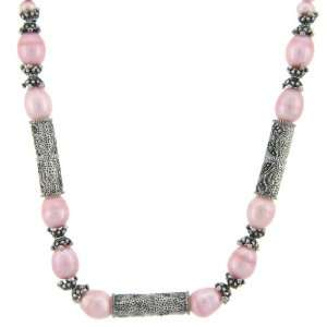 Sterling Silver Marcasite Pink Pearl Necklace Jewelry