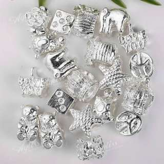 20P Mixed Animal Silver Plated European Charm Beads Fit Bracelet