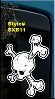 SKULL AND X CROSS BONES VINYL DECAL STICKER WINDOW