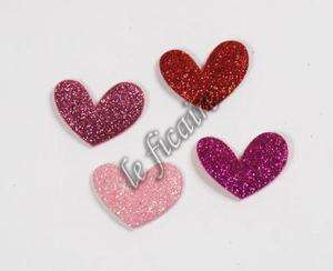 Glitter Glimmer Heart Appliques Valentines Card x 80 (MixB) #2412