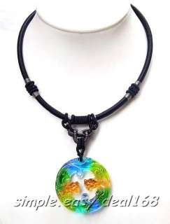 Stunning Glaze Lampwork Art Glass DRAGON SYMBOL Pendant Necklace