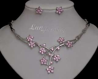 C42 SALE Pink Crystal Diamante Wedding Bridal Necklace Earrings