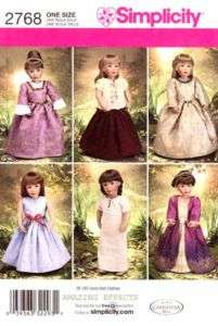 Simplicity Pattern 2768 18 American Girl Doll clothes dress nightgown