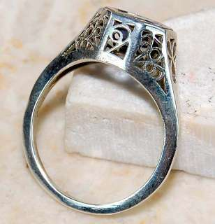 2ct Natural Sapphire 925 Sterling Silver Victorian Style Filigree Ring