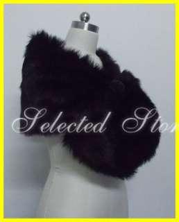 Black Faux Fur Pearl Shrug Cape Stole Wrap Shawl Wedding Bridal