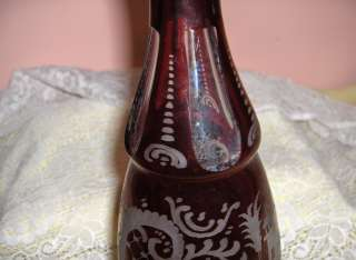 Antique Bohemian Red Crystal Art Glass Tall Decanter Stag Victorian