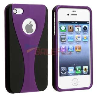 Purple 3 Piece Rubber Hard Case Cover+PRIVACY FILTER Film for iPhone 4
