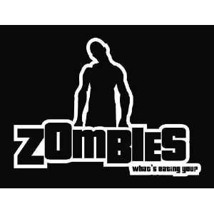 Zombie   Whats Eating You funny Vinyl Die Cut Decal Sticker 7 White