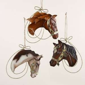 Club Pack of 12 Wild West Country Gold Tin Horse Head