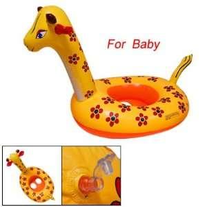 Yellow Inflatable Swimming Ring Giraffe Shape Seat Boat