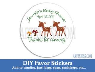 WOODLAND DEER CUSTOM Baby Shower Stickers DIY Favor
