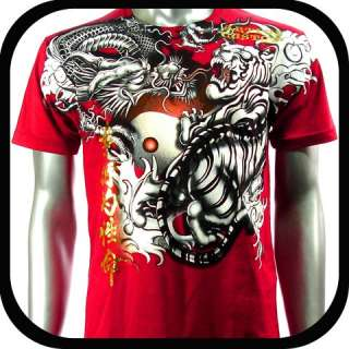 Artful Couture T Shirt Dragon Tattoo Vtg AD27 Sz M L XL Tiger Graffiti