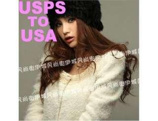Fashion Women 100% real RABBIT Fur Hat Lady Knit Handmade Beanie Cap